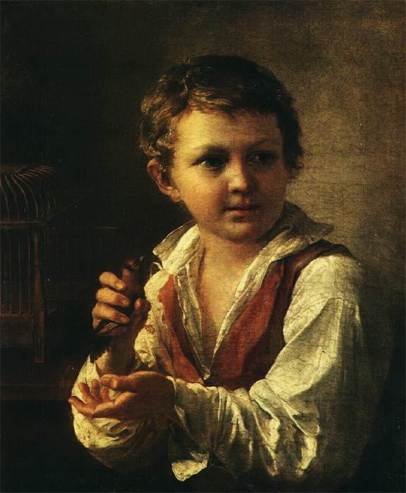 Тропинин Василий Андреевич, Мальчик, выпускающий из клетки щеглёнка