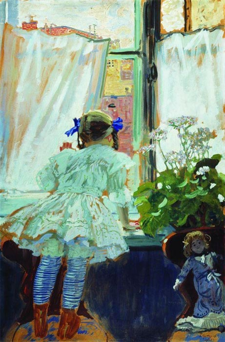 Борис кустодиев у окна портрет и б